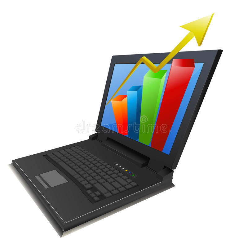 Geschäftswachstumdiagramm im Laptop stock abbildung