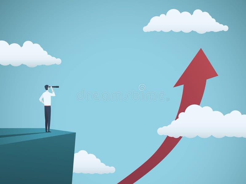 Geschäftswachstums-Vektorkonzept mit dem Geschäftsmann, der durch Teleskop aufwärts Pfeil betrachtet Symbol von Geschäftserfolg lizenzfreie abbildung