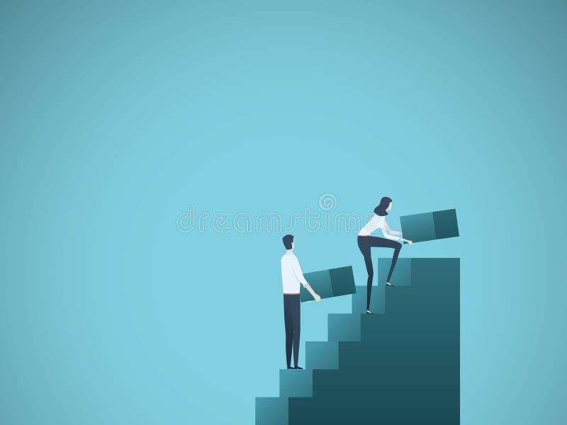 Geschäftswachstums-Vektorkonzept mit Geschäftsmann- und Geschäftsfraugebäudeschritten als Team Symbol des Erfolgs, Leistung vektor abbildung
