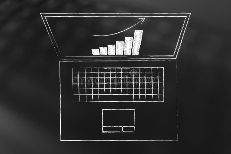 Geschäftswachstumsdiagramm auf Laptopschirm lizenzfreie abbildung