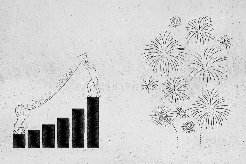 Geschäftswachstumsdiagramme mit Titel und Feuerwerken vektor abbildung