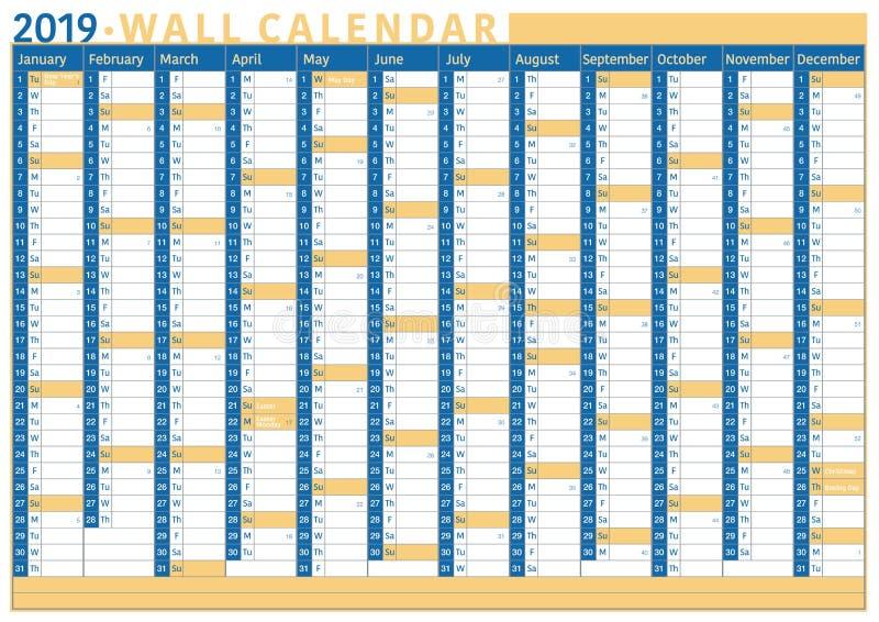 GeschäftsWandkalender 2019 mit Raum für Text und Zahl von Wochen lizenzfreie abbildung