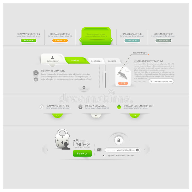 Geschäftswebsiteschablonendesign-Menüelemente mit Ikonen vektor abbildung
