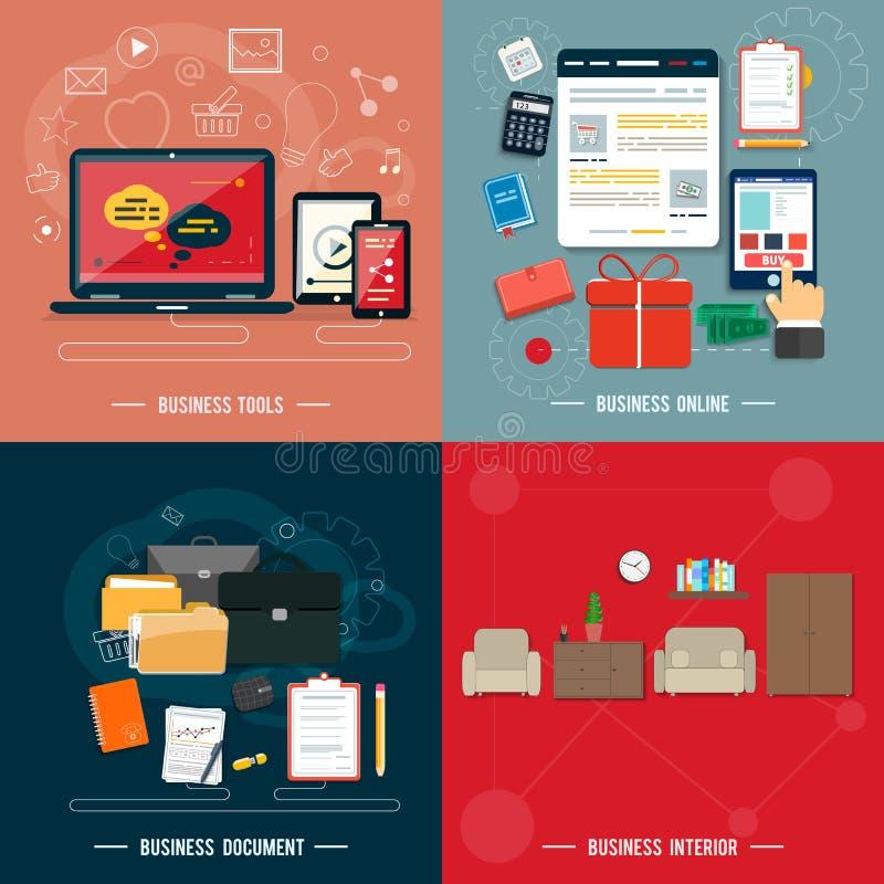 Geschäftswerkzeuge, Innenraum, on-line, Dokumente vektor abbildung