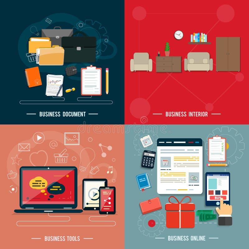 Geschäftswerkzeuge, Innenraum, on-line, Dokumente lizenzfreie abbildung