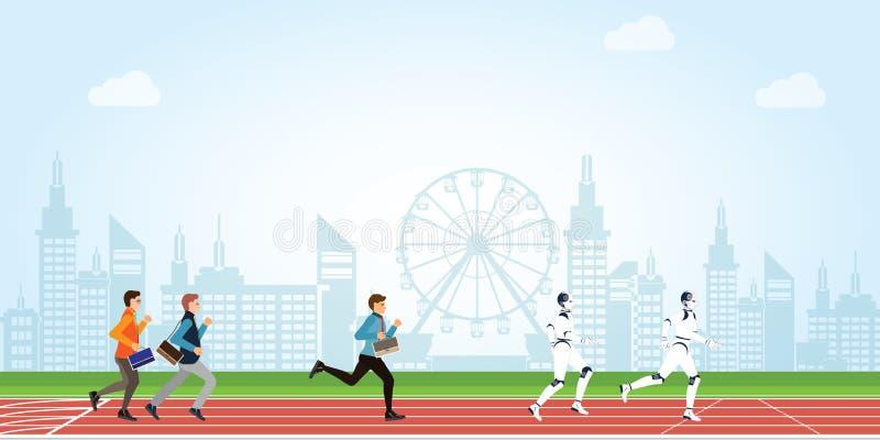 Geschäftswettbewerb mit Karikatur der menschlichen und künstlichen Intelligenz auf athletischer Bahn auf Stadtansichthintergrund lizenzfreie abbildung