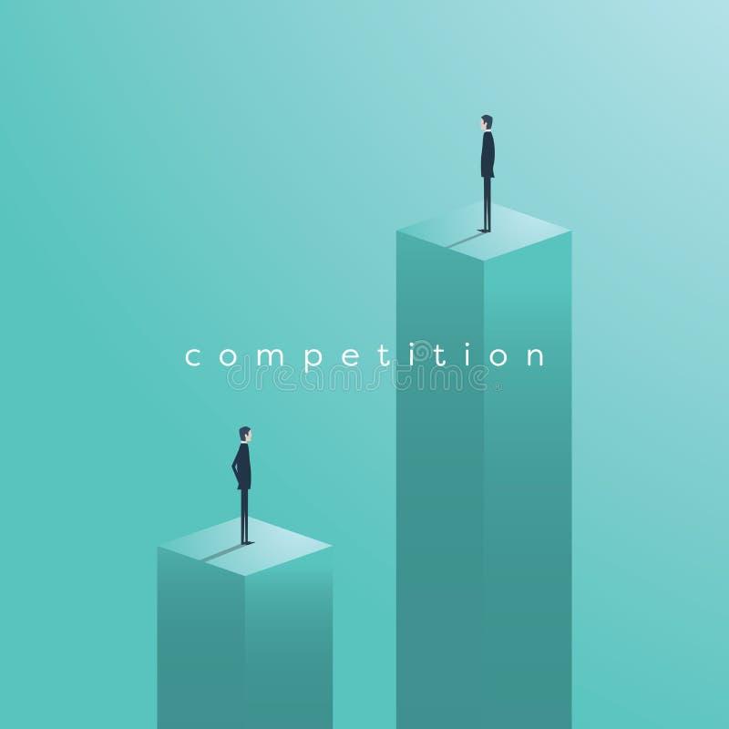 Geschäftswettbewerbskonzept mit Geschäftsmannvektorillustration Symbol der Herausforderung, des Rennens, des Erfolgs und der Sieg stock abbildung