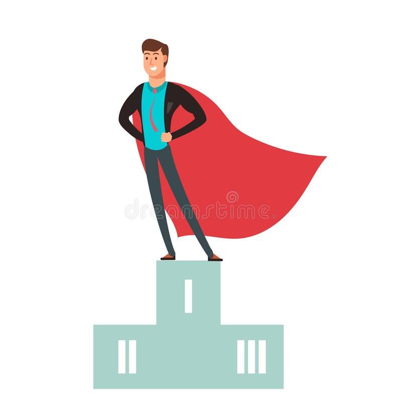 Geschäftswettbewerbssieger Superheldmann, der auf Podiumvektorillustration steht lizenzfreie abbildung