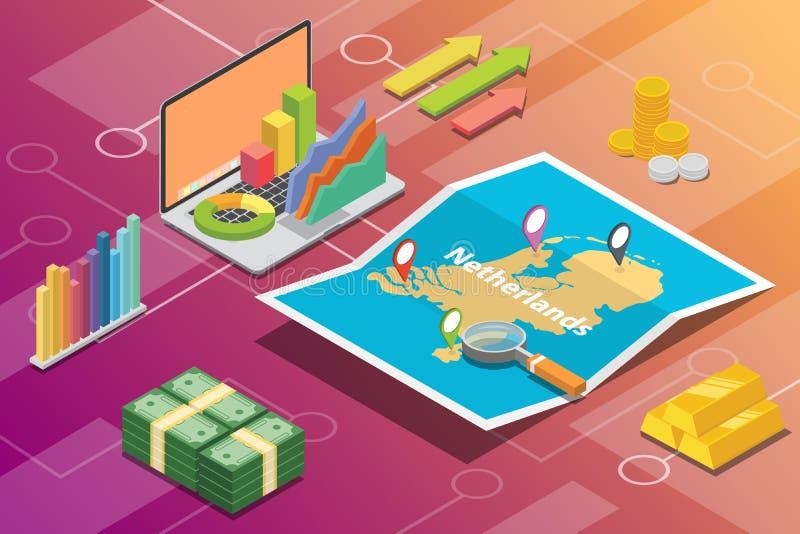 Geschäftswirtschafts-Wachstumsland der Niederlande isometrisches mit Karte und Finanzzustand - Vektor stock abbildung