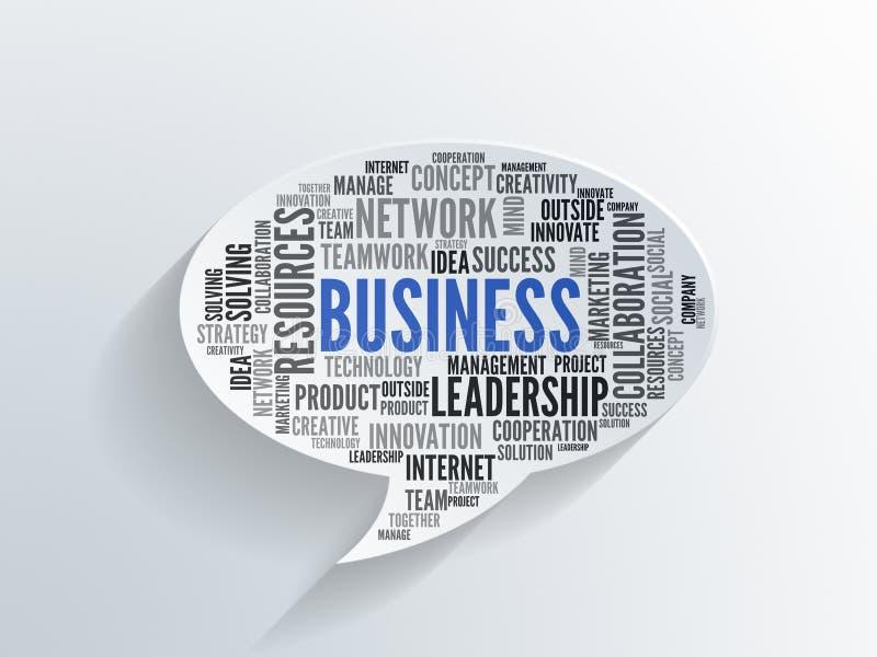 Geschäftswortwolke auf einer Spracheblase des Papiers 3d stockfoto