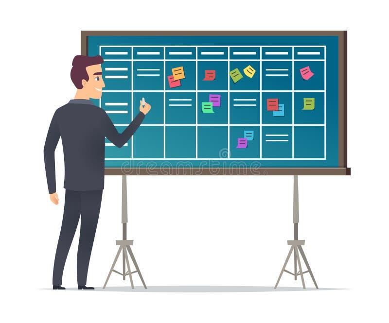 Geschäftszeitplanbrett Geschäftsmannstellung nahe Checkliste und Planungsteams Arbeitsplankalendermanagementvektor vektor abbildung