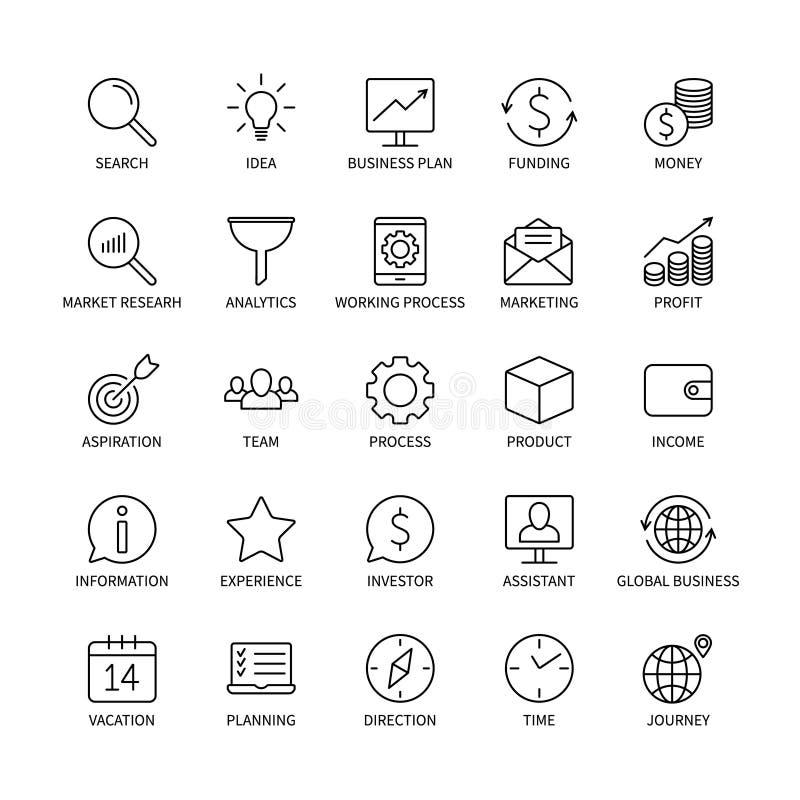 Geschäftszweig Marketing des Ikonengeldhandelsanalysebankkontaktsocial media-Technologielogistiksuchideen-Einkommens lizenzfreie abbildung