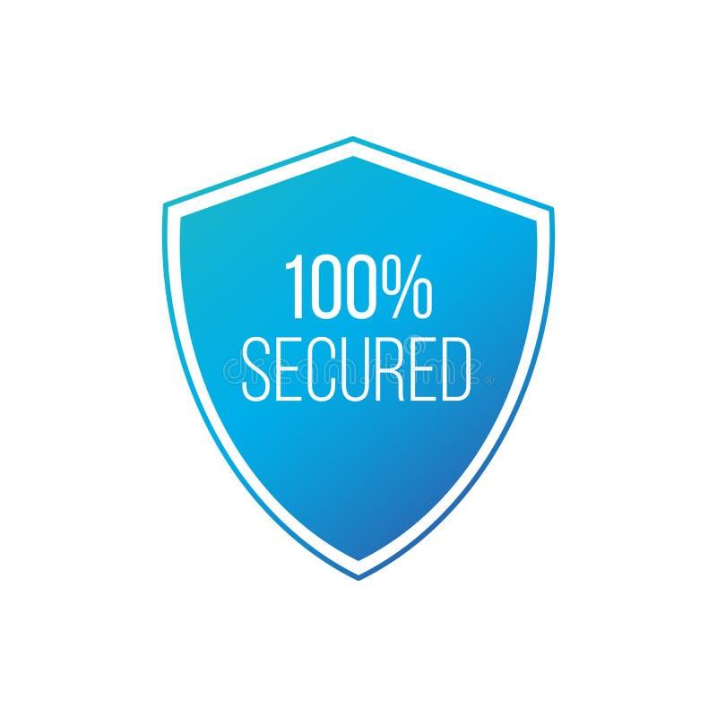 100 geschütztes Schutzschildkonzept Ausweisikone der Sicherheit 100 Privatlebengarantie-Schildfahne Sicherheitsgarantieaufkleber  lizenzfreie abbildung