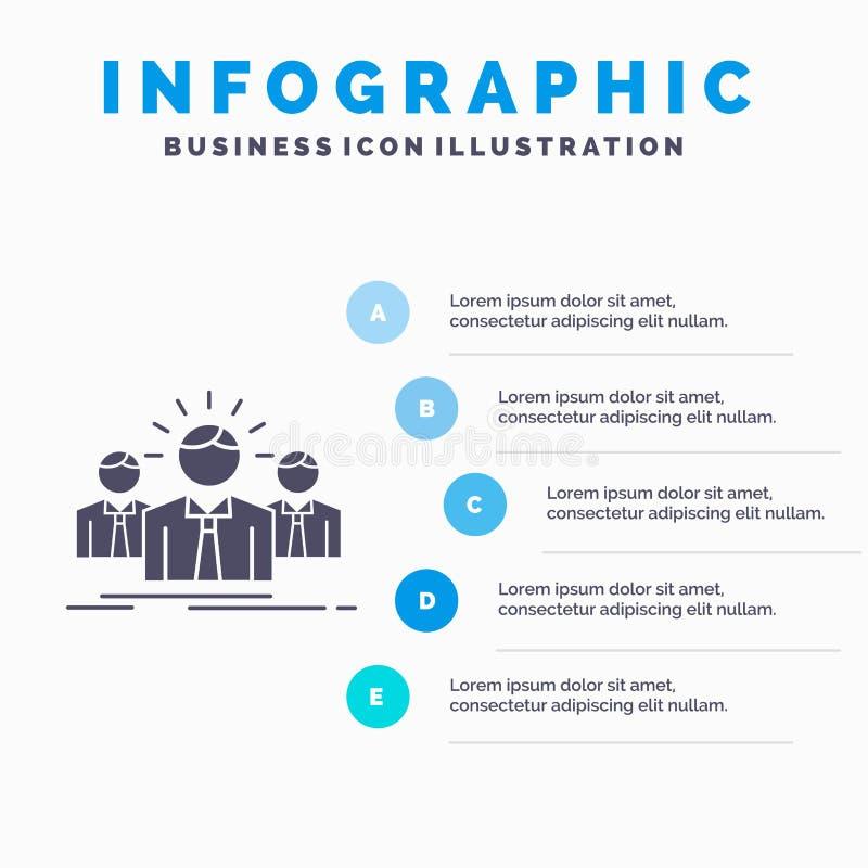 Gesch?ft, Karriere, Angestellter, Unternehmer, F?hrer Infographics Template f?r Website und Darstellung Graue Ikone des GLyph mit stock abbildung