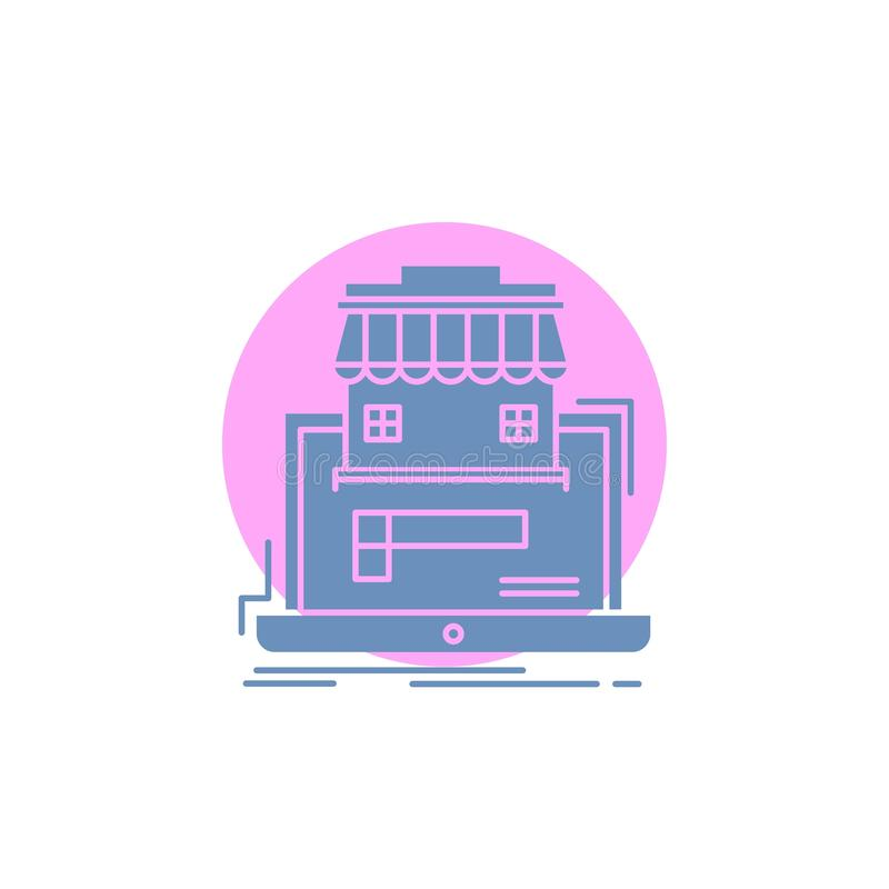 Gesch?ft, Markt, Organisation, Daten, on-line-Markt Glyph-Ikone vektor abbildung