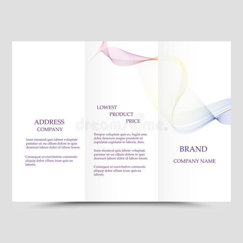 Gesch?fts-Brosch?renschablone mit drei Falten, Unternehmensflieger oder Abdeckungsdesign in den blauen Farben lizenzfreie abbildung