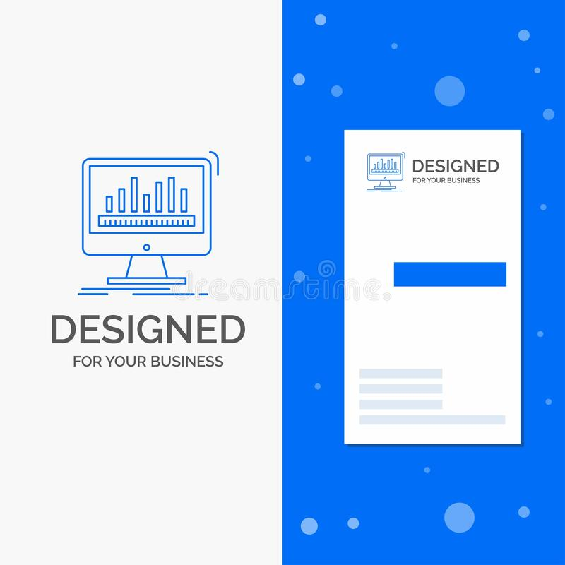Gesch?fts-Logo f?r Analytics, verarbeitend, Armaturenbrett, Daten, Notfall Vertikale blaue Gesch?fts-/Visitenkarteschablone lizenzfreie abbildung