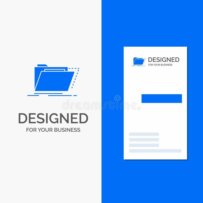 Gesch?fts-Logo f?r Archiv, Katalog, Verzeichnis, Dateien, Ordner Vertikale blaue Gesch?fts-/Visitenkarteschablone lizenzfreie abbildung