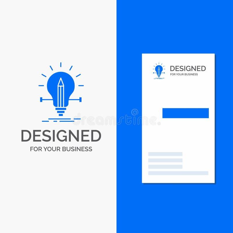 Gesch?fts-Logo f?r Birne, kreativ, L?sung, Licht, Bleistift Vertikale blaue Gesch?fts-/Visitenkarteschablone lizenzfreie abbildung