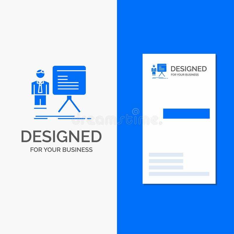 Gesch?fts-Logo f?r Darstellung, Gesch?ftsmann, Diagramm, Diagramm, Fortschritt Vertikale blaue Gesch?fts-/Visitenkarteschablone stock abbildung