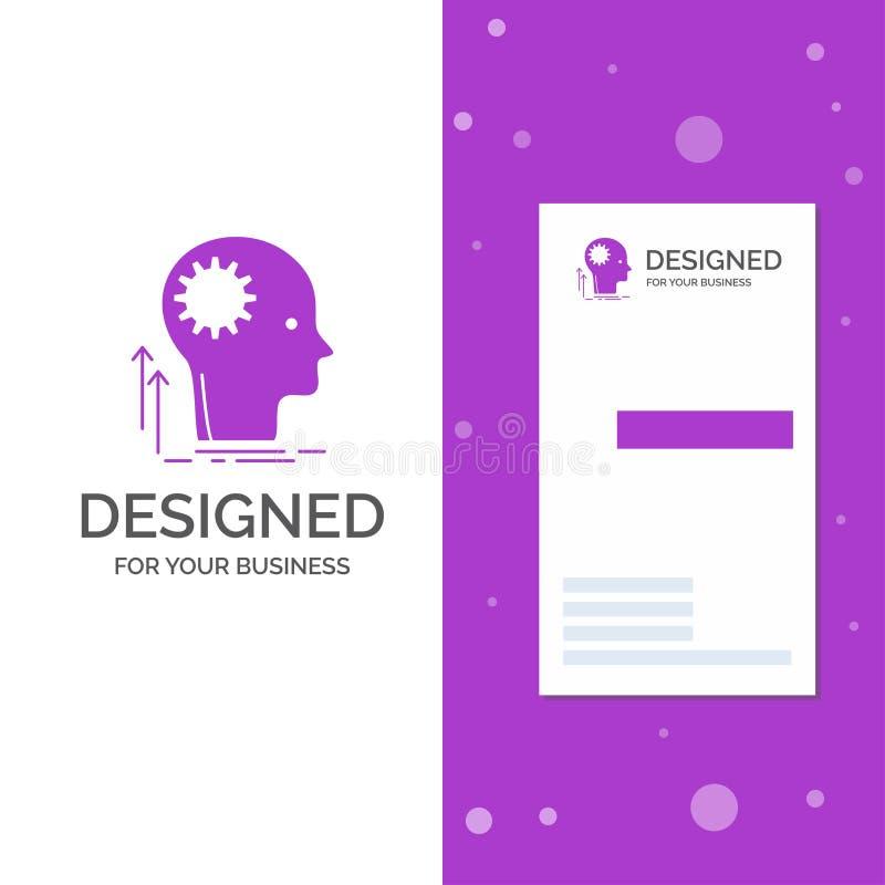 Gesch?fts-Logo f?r den Verstand, kreativ, denkend, Idee, Brainstorming Vertikale purpurrote Gesch?fts-/Visitenkarteschablone krea lizenzfreie abbildung