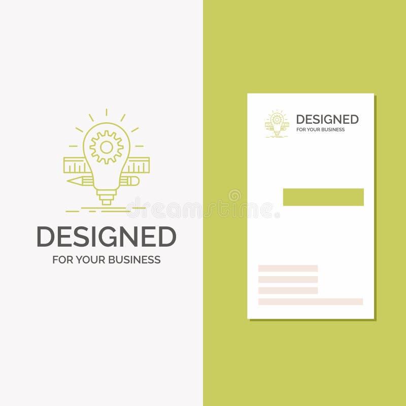 Gesch?fts-Logo f?r Entwicklung, Idee, Birne, Bleistift, Skala Vertikale gr?ne Gesch?fts-/Visitenkarteschablone Kreativer Hintergr vektor abbildung