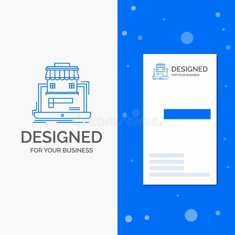 Gesch?fts-Logo f?r Gesch?ft, Markt, Organisation, Daten, on-line-Markt Vertikale blaue Gesch?fts-/Visitenkarteschablone lizenzfreie abbildung