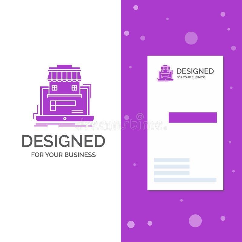 Gesch?fts-Logo f?r Gesch?ft, Markt, Organisation, Daten, on-line-Markt Vertikale purpurrote Gesch?fts-/Visitenkarteschablone stock abbildung