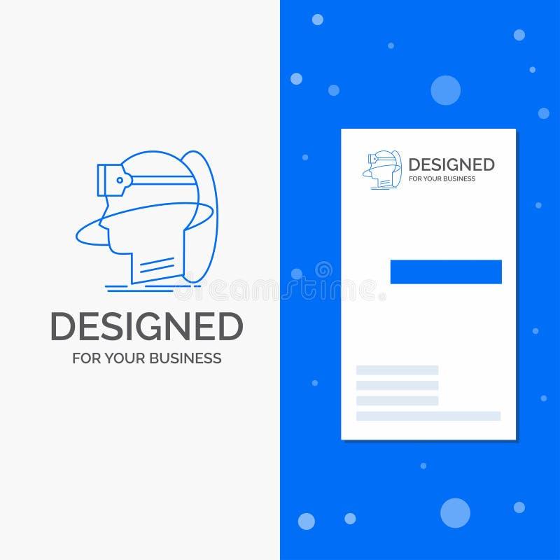 Gesch?fts-Logo f?r menschliches, Mann, Wirklichkeit, Benutzer, virtuell, vr Vertikale blaue Gesch?fts-/Visitenkarteschablone stock abbildung