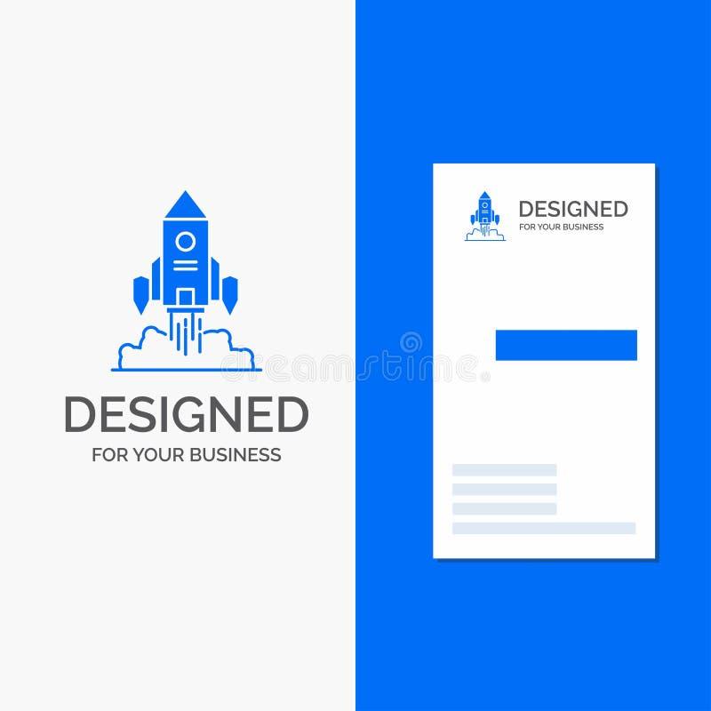 Gesch?fts-Logo f?r Rocket, Raumschiff, Start, Produkteinf?hrung, Spiel Vertikale blaue Gesch?fts-/Visitenkarteschablone stock abbildung
