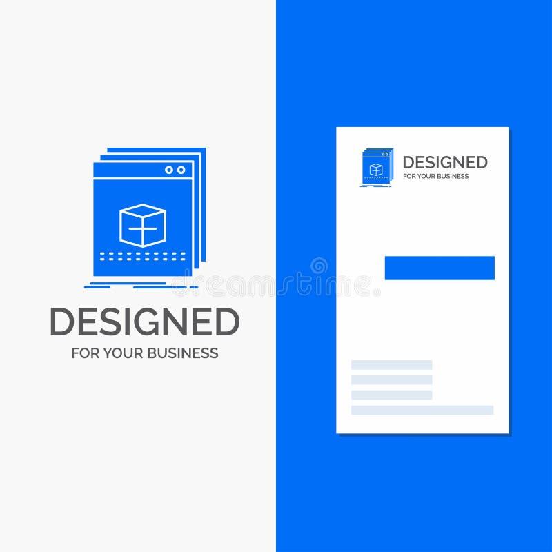 Gesch?fts-Logo f?r Software, App, Anwendung, Datei, Programm Vertikale blaue Gesch?fts-/Visitenkarteschablone lizenzfreie abbildung