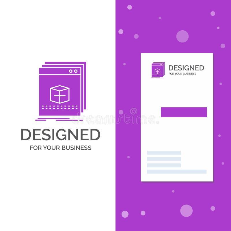 Gesch?fts-Logo f?r Software, App, Anwendung, Datei, Programm Vertikale purpurrote Gesch?fts-/Visitenkarteschablone kreativ vektor abbildung