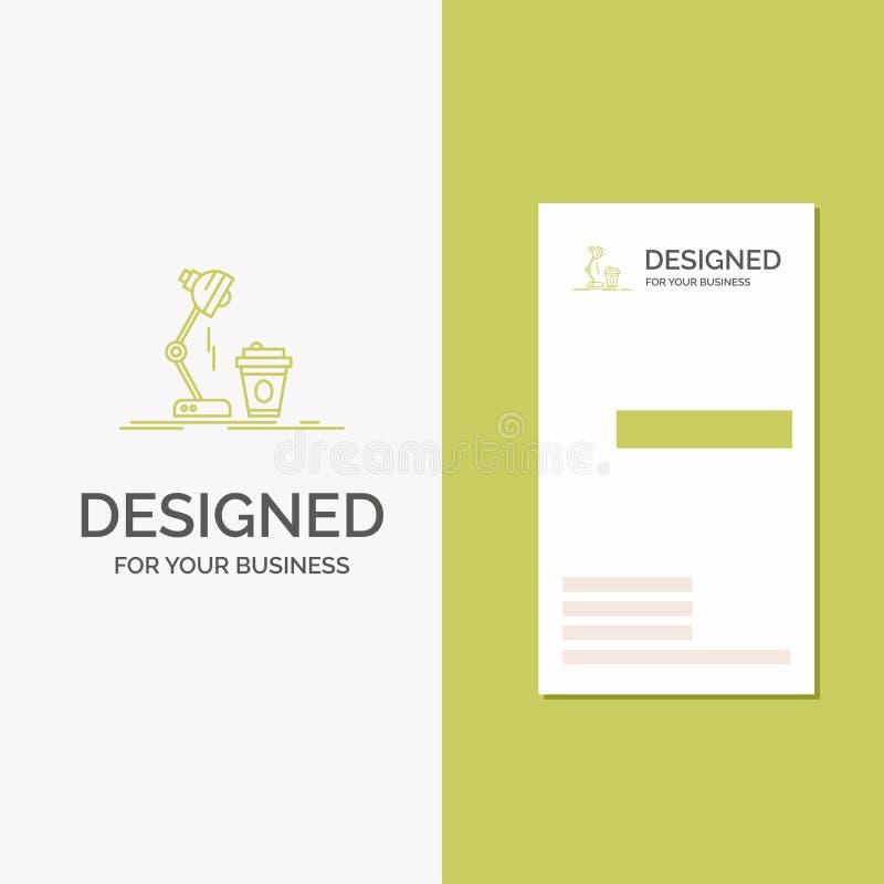 Gesch?fts-Logo f?r Studio, Entwurf, Kaffee, Lampe, Blitz Vertikale gr?ne Gesch?fts-/Visitenkarteschablone Kreativer Hintergrund vektor abbildung