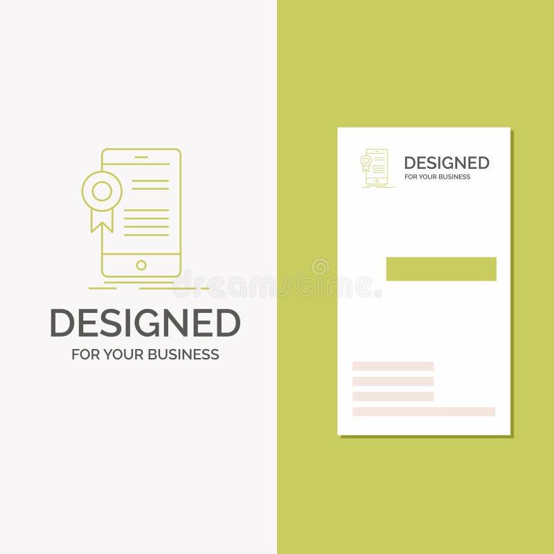 Gesch?fts-Logo f?r Zertifikat, Bescheinigung, App, Anwendung, Zustimmung Vertikale gr?ne Gesch?fts-/Visitenkarteschablone lizenzfreie abbildung