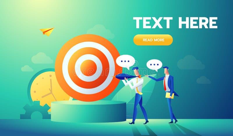 Gesch?fts-Teamwork-Konzept mit flachen Leute-Charakteren und Ziel Ziel-Leistung, Motivation, F?hrung, Idee Vektor stock abbildung