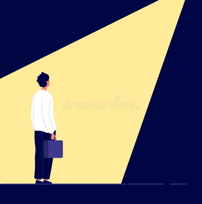Gesch?ftseinstellung Mann im Scheinwerfer, Bürobeschäftigungswahl Die Karriererekrutierung, -Personal und -wir stellen an stock abbildung