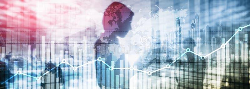 Gesch?ftsfinanzwachstums-Diagrammdiagramm, das Diagrammhandel und Hintergrund der Devisenaustauschkonzeptdoppelbelichtungsgemisch stock abbildung