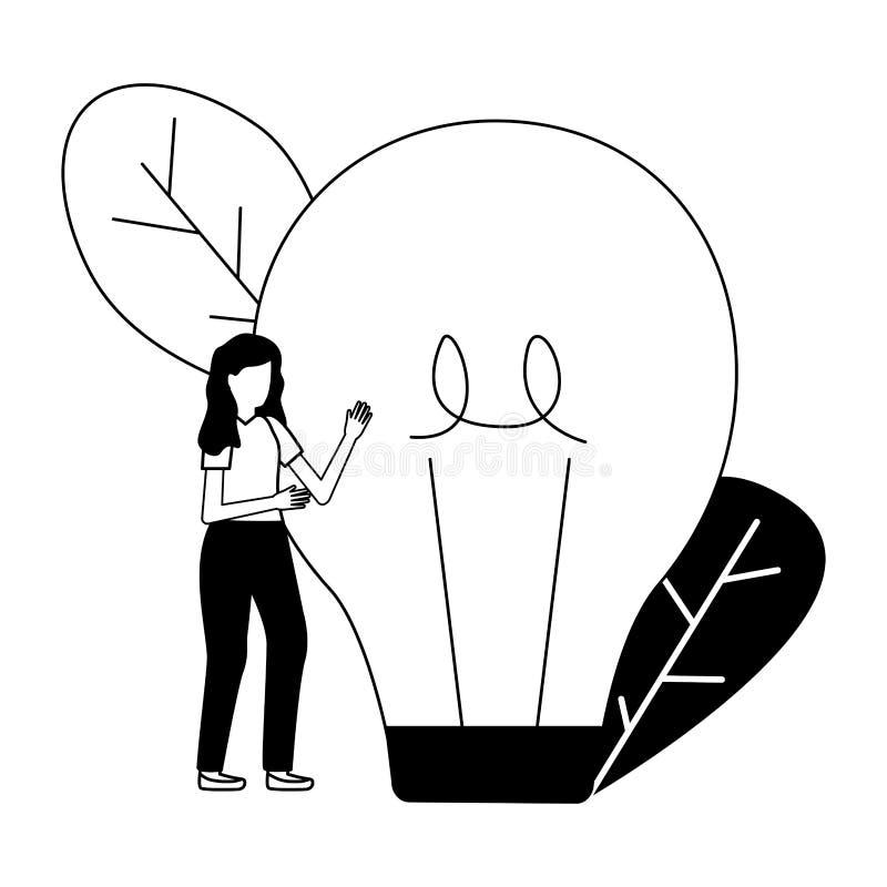 Gesch?ftsfrau mit Birne vektor abbildung