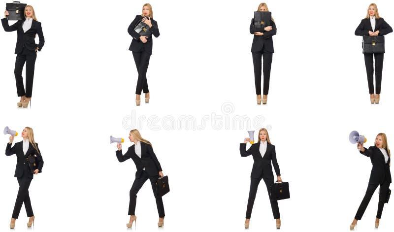 Gesch?ftsfrau mit Megaphon und Aktenkoffer lizenzfreie stockfotografie