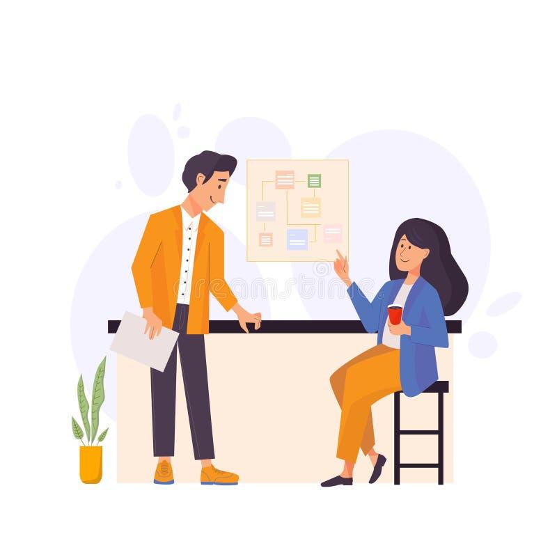 Gesch?ftsleute Teamwork Mann und Frau, die im Büro sprechen flache Zeichentrickfilm-Figur-Illustration des Vektors lizenzfreie abbildung