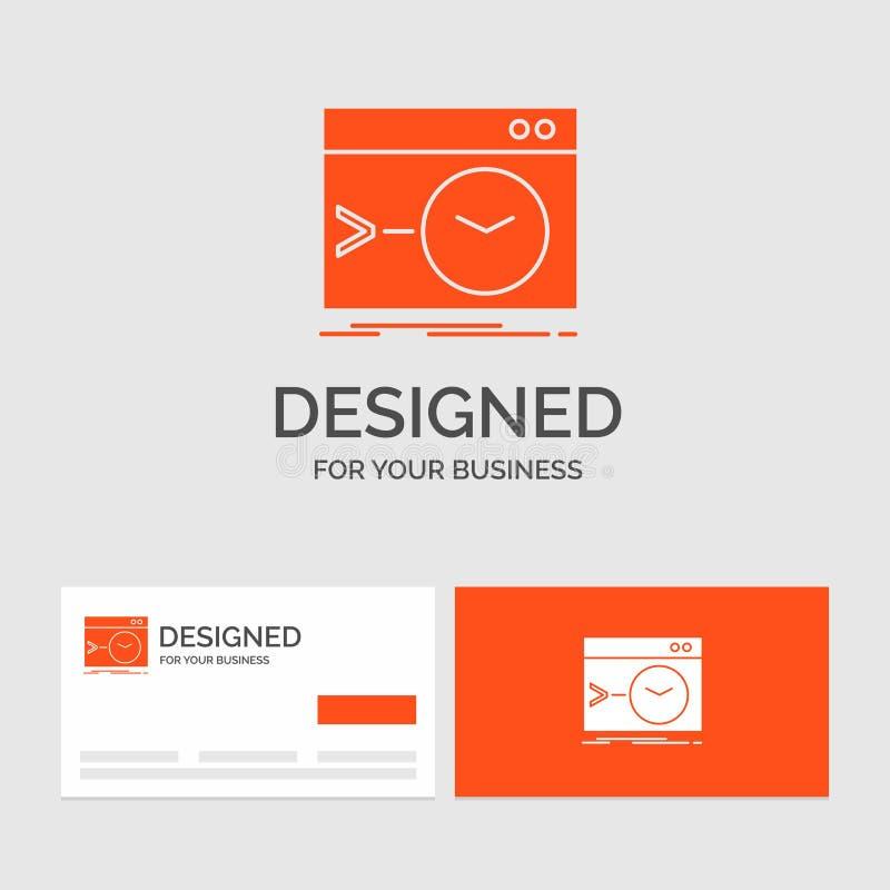 Gesch?ftslogoschablone f?r Admin, Befehl, Wurzel, Software, Anschluss Orange Visitenkarten mit Markenlogoschablone stock abbildung