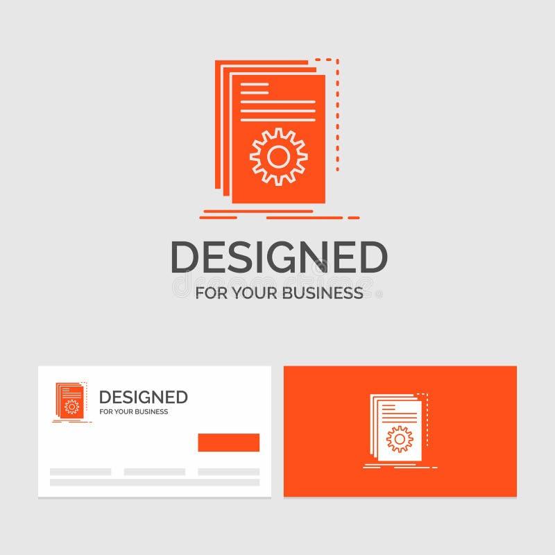 Gesch?ftslogoschablone f?r App, Gestalt, Entwickler, Programm, Skript Orange Visitenkarten mit Markenlogoschablone lizenzfreie abbildung