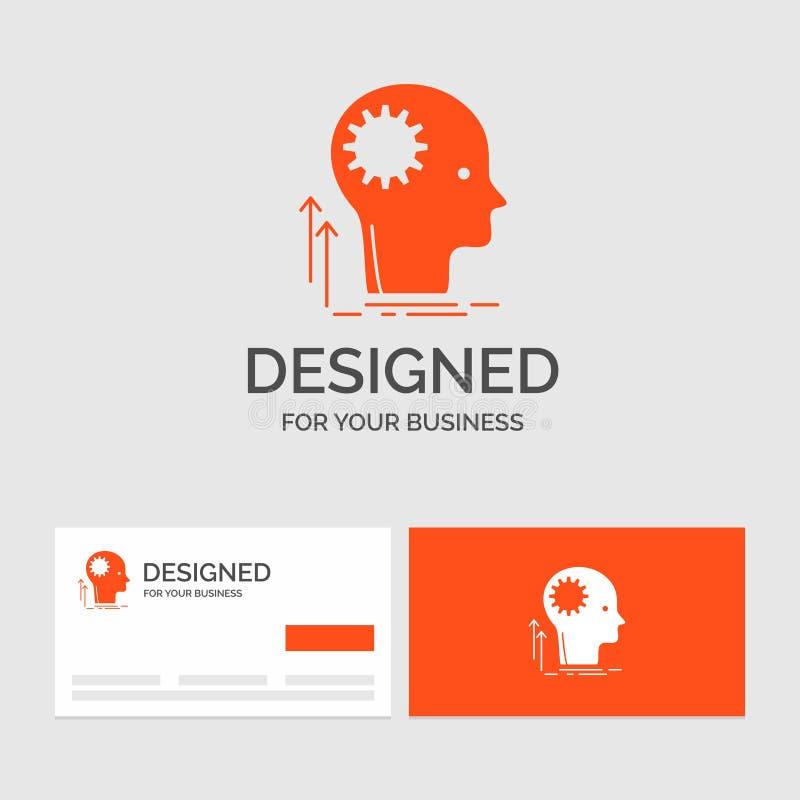 Gesch?ftslogoschablone f?r den Verstand, kreativ, denkend, Idee, Brainstorming Orange Visitenkarten mit Markenlogoschablone vektor abbildung