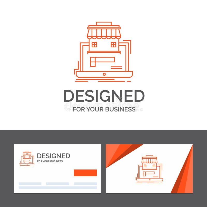Gesch?ftslogoschablone f?r Gesch?ft, Markt, Organisation, Daten, on-line-Markt Orange Visitenkarten mit Markenlogo vektor abbildung