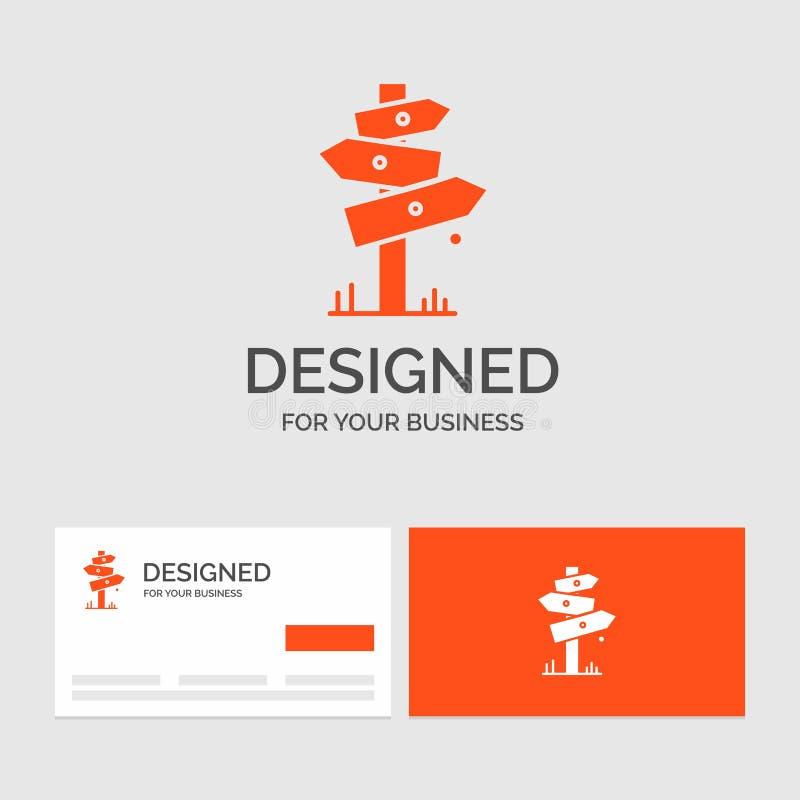 Gesch?ftslogoschablone f?r Richtung, Brett, kampierend, Zeichen, Aufkleber Orange Visitenkarten mit Markenlogoschablone vektor abbildung