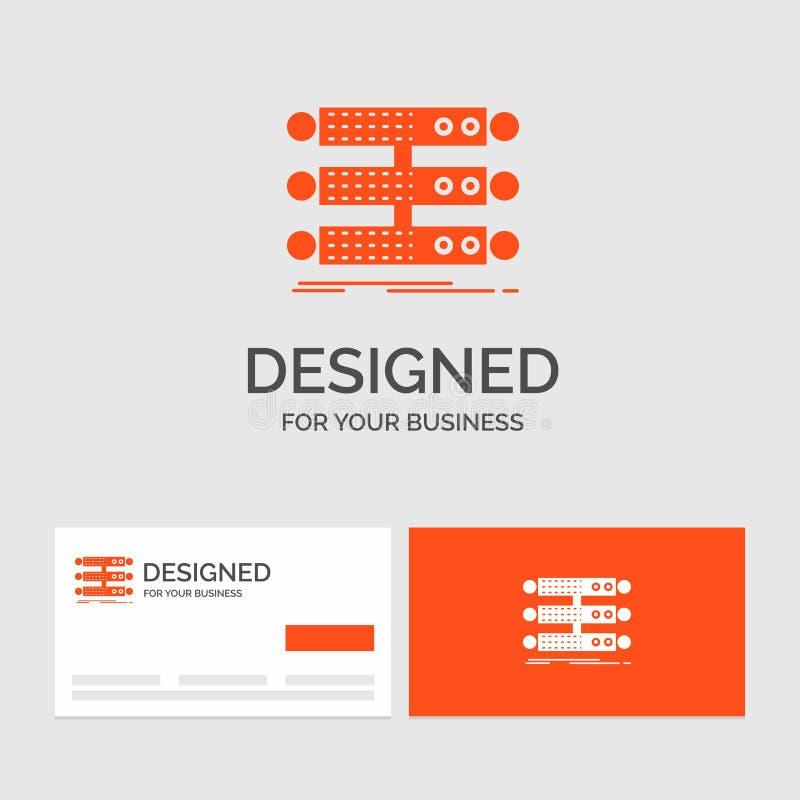 Gesch?ftslogoschablone f?r Server, Struktur, Gestell, Datenbank, Daten Orange Visitenkarten mit Markenlogoschablone stock abbildung
