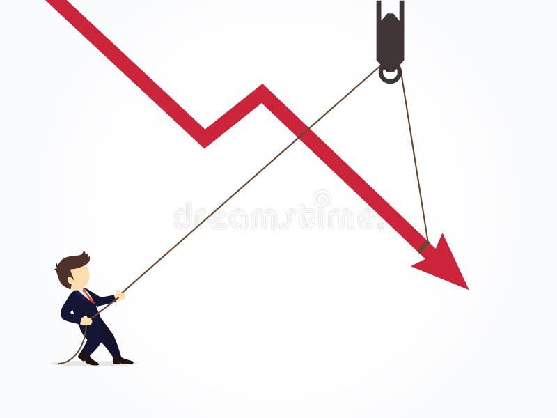 Gesch?ftsmann, der ein fallendes Pfeildiagrammdiagramm von weiterem unten fallen zieht Vektorillustration für Geschäftsentwurf un lizenzfreie abbildung