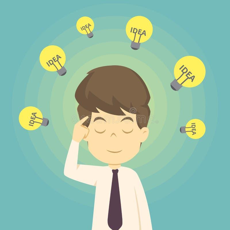 Gesch?ftsmann mit Ideen Geschäftsmann mit Glühlampe über seinem Kopf Karikatur des Geschäfts, Angestellterfolg ist das Konzept de lizenzfreie abbildung