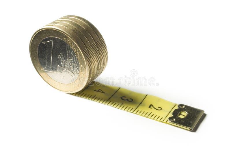 Gescheiden euro muntstuk en band stock afbeelding