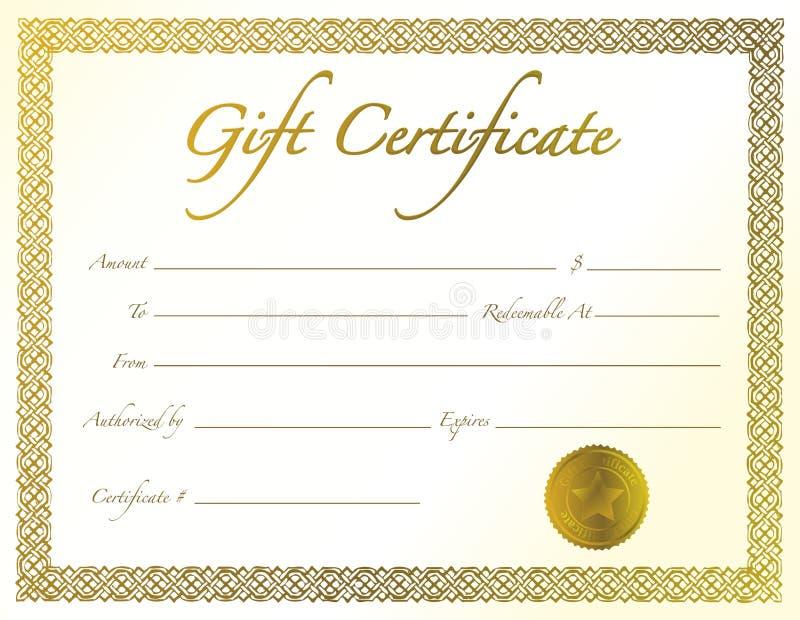 Geschenk-Bescheinigung lizenzfreie abbildung
